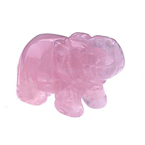 JOVIVI Natural Rose Quartz Carved Gemstones Elephant Crystal Figurine 2'' Room Decoration, with Gift Box ()