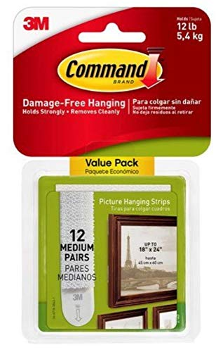 Command Medium Picture-Hanging Strips, White, 24-Sets