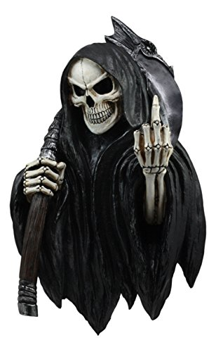 Ebros Die Another Day Grim Reaper Skeleton Flipping Off Middle Finger Wall Decor Reaper Assassin Harvester of Souls Carrying A Scythe 3D Wall Art Sculpture -