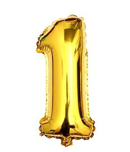 Ecape 40 Inch Golden Helium Foil Balloons Number 1 Balloons for Holiday Party Happy Events Anniversary Celebration (Large Helium Number Balloons)
