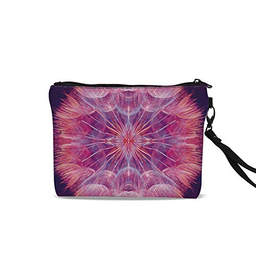 Pastel Travel Cosmetic Bag,Extreme Close Up Dandelion Flower Abstract Vivid Dreamy Magical Nature For Women Girl,9