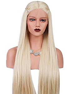 Synthetic Lace Front Wigs Long Straight Blonde Daenerys Targaryen Wig Cosplay