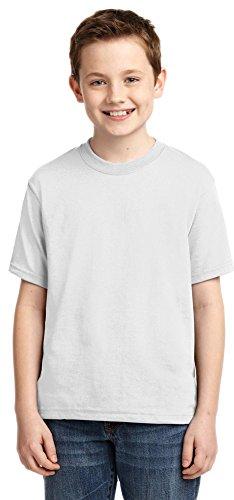 JERZEES Boys Heavyweight Blend Cotton/Poly T-Shirt, Small, White (Youth Heavyweight Jerzees Blend)