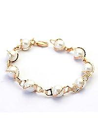 Charming 18 ct Rose Gold Plated Bracelet Swarovski Crystal White Simulated Pearls Bangle