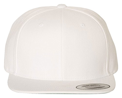 Yupoong Classic Flat Bill Snapback Cap, White, Adjustable