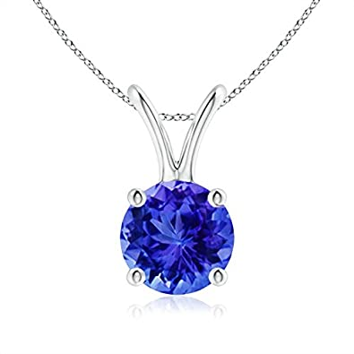 Angara Round Tanzanite Solitaire Pendant with Diamond Bale in Platinum eCmJACWQUb