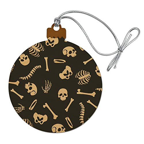 GRAPHICS & MORE Skeleton Skull Bones Rib Cage and Femur Pattern Wood Christmas Tree Holiday Ornament