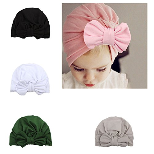Ever Fairy Infant Baby Girls Floral Print Nursery Newborn Hospital Hat Cap with Big Bow (4 Colors Set G)