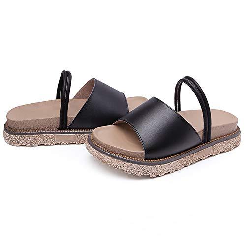 Grande Chaussures Appartement Taille Style8 Épais Plates Chaussons Sandales Aux Fond Plateforme Noir Antidérapant Daytwork À Femme L'usure Résistant Chaussure vwxHZ4