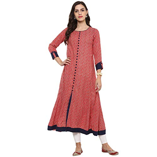 Yash Gallery Indian Tunic Tops Women's Rayon Printed Anarkali Kurta (Pink;Blue, 4XL)