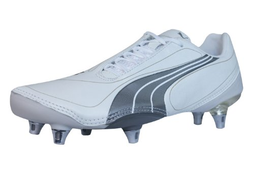 PUMA V1.08 K SG Mens Leather Soccer Boots/Cleats-White-9.5