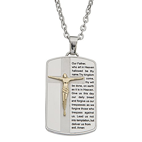 (Red Hook Men's Jewelry Stainless Steel Religious Lord's Prayer and Gold Plated Crucifix Dog Tag Pendant Necklace, 22