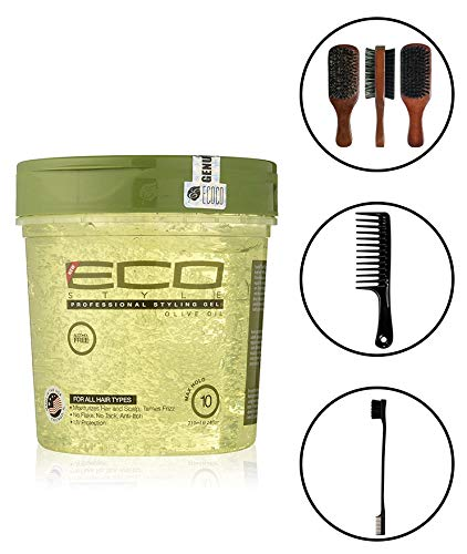 Eco Style Olive Oil Gel 24 Ounce (Including Double Sided Edge Control Hair Brush, Detangling Wide Tooth Comb Set & 100% Boar 2-Sided Club Brush) Eco Styling Gel with Olive Oil Hair Styling Kit (Best Eco Styler Gel For Edges)