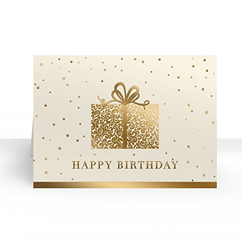 Pack of 25 Wall Street Greetings Premium Elegant Gold Present 5x7 fold over Greeting card with 25 Ivory Peel & Seal gold foil lined envelopes (Ivory Envelopes Gold Foil)