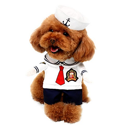 [SELMAI Navy Pet Dog Costumes with Hat Sailor Small Cat Puppy Clothes Dog Coat White XL] (Couples Scary Costumes)