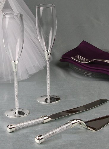 Crystal Filled Stemmed Toasting Flutes, Cake Knife Server Set with Engraving and White Love Design Favor Frame