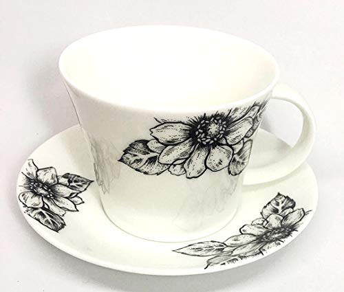 Roy Kirkham Floral Art Anemone Blossom by Ian Kirkham Breakfast Tea Cup and Saucer Set Fine Bone China | Collectible Dated ()