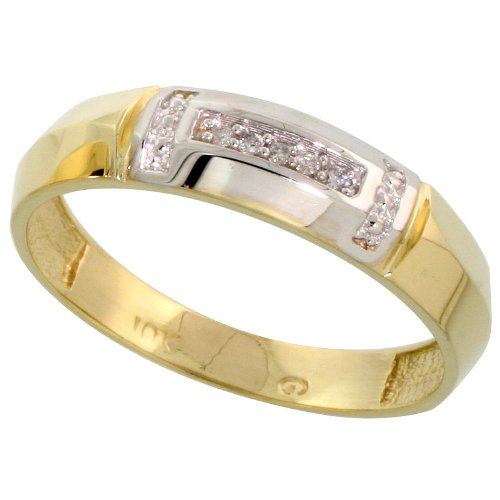10k Yellow Gold Mens Diamond Wedding Band Ring 0.03 cttw Brilliant Cut, 7/32 inch 5.5mm wide, Size 11