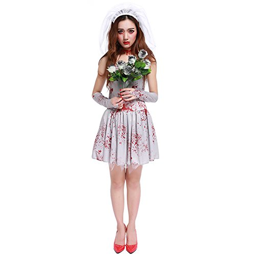 Women's Halloween Costume Scary Dead Ghost Bride Costumes With Blood On Dress For Teen Girls (Free Size, Grey)
