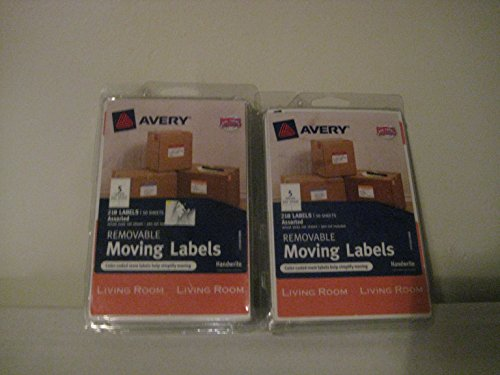 Avery Removable Moving Labels, Assorted Sizes and Colors, 218 per-pk (2 pack) (Avery Labels 16 Per Page No Border)
