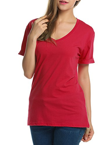 Meaneor Women Solid Comfy Loose Fit Roll Over Short Sleeve V Neck Lightweight Top Tee – Small, Red
