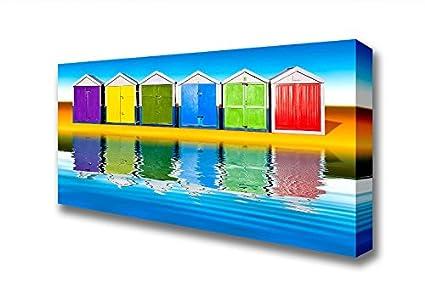 Reflejos panorámica de la diseño de casetas de playa lienzo Prints, Double XL 32 x