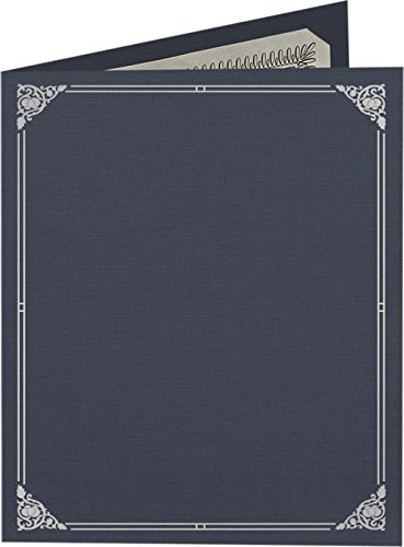 9 1/2 x 12 Certificate Holders - Dark Blue Linen - Silver Foil Floral Border (250 Qty.) | Perfect for Award Recognition, Certificates, Documents and More! | CHEL-185-DDBLU100-FLORALSF-250