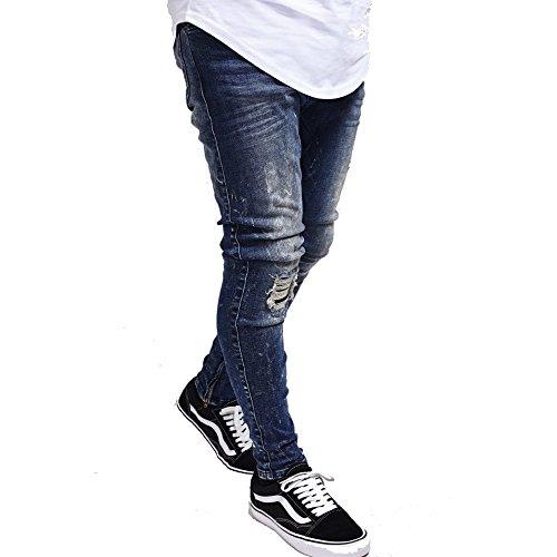 Blu Rise Silk Uomo Low Jeans Skinny 01 Sik EYqwCE