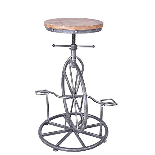 VINTAGELIVING Industrial Bar Stool Bicycle Wheel Pedal Footrest Swivel Coffee Chair Height Adjustable Wood Seat