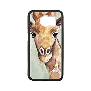 Samsung Galaxy S6 Cell Phone Case Black WATERCOLOR GIRAFFE JSK840578