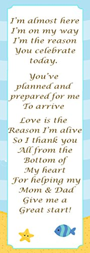 (50 Under The Sea Bookmarks Baby Shower Party Favor Gift Idea Star Fish Sand Blue Yellow Design)