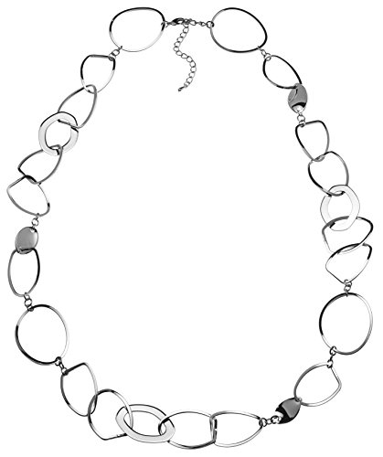 Sparkling Long Link Necklace - Silver Plated (Plated Link Circle)
