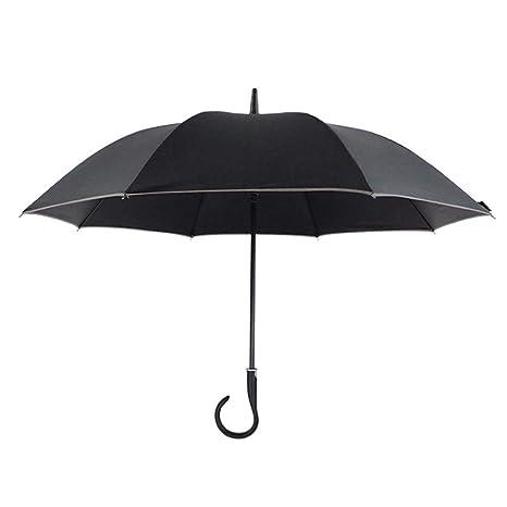 Paraguas Plegables Gancho automático Curvado Mango Largo Paraguas Lluvia Doble Uso Plástico Negro Paraguas Protección Solar