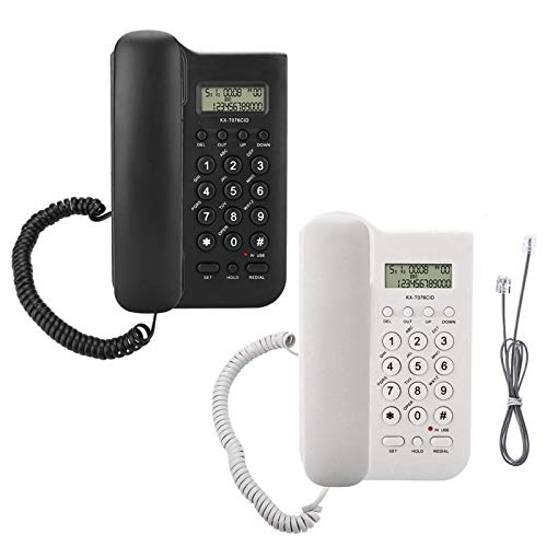 PrinceShop - Home Hotel Wired Desktop Wall Phone Dual System FSK/DTMF Office Landline Telephone Number/time Check Fast Redial Easy to install from PrinceShop