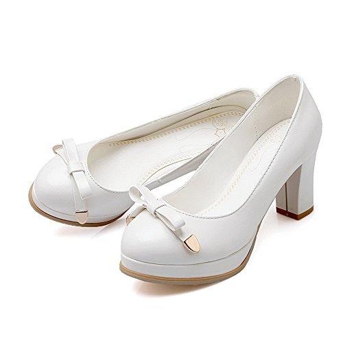 Amoonyfashion Womens Zacht Materiaal Pull Op Ronde Gesloten Teen Hoge Hakken Pumps-schoenen Wit