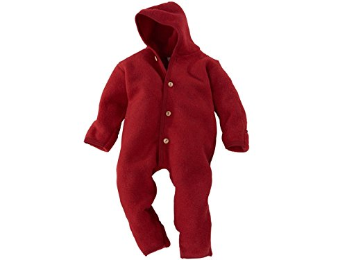 Engel 100% Organic Fleece Merino Wool Overall Romper Made in Germany (74/80 (6-12 Months), Red Melange) (Overall Wool)