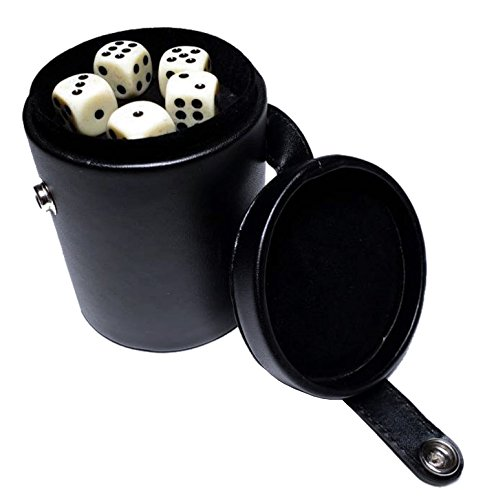 (StealStreet SS-CQG-7810 Black/Cream Color Deluxe Dice Cup with Storage and 5 Poker Dice)