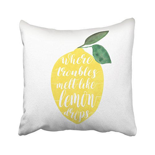 Capsceoll Where Troubles melt Like Lemon Drops Decorative Throw Pillow Case 18X18Inch,Home Decoration Pillowcase Zippered Pillow Covers Cushion Cover with Words for Book Lover Worm Sofa Couch
