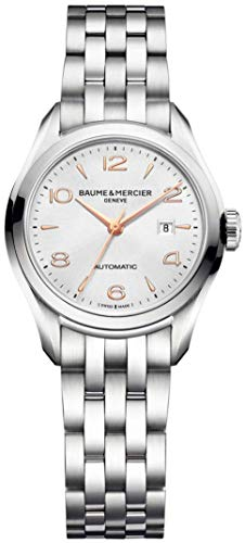 Baume & Mercier Clifton Womens Automatic Watch - 30mm Analog Silver Face Ladies Watch with Second Hand, Date and Sapphire Crystal - Swiss Made Stainless Steel Luxury Dress Watches For - Crystal Bracelet Baume Et Mercier