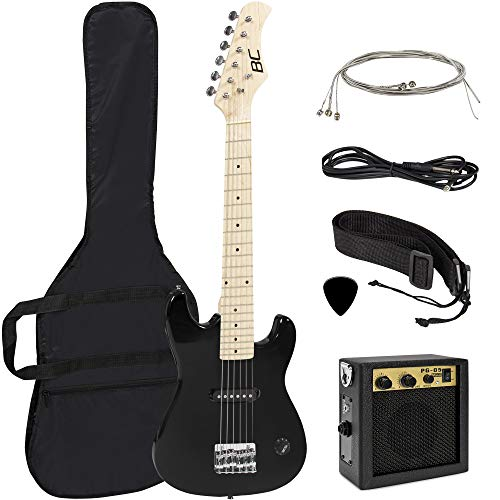 Best Choice Products 30in Kids 6-String Electric Guitar Musical Instrument Starter Kit w/ 5W Amplifier, Shoulder Straps, Nylon Carrying Bag, Strings, Picks - Black (Best Electric Guitar Strings For Beginners)