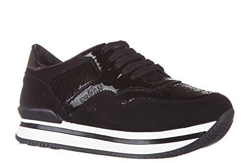 Hogan Sneakers Kinder Schuhe Mädchen Wildleder Turnschuhe j222 allacciato Schwar