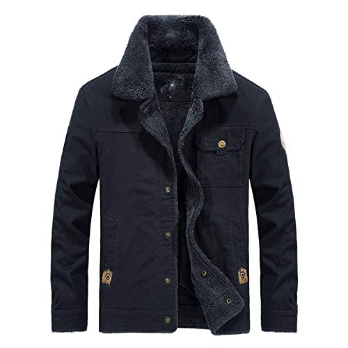 (BE-MY-GUEST 2018 New Winter Men's Jackets Fleece Casual Tactical Outerwear Thick Jackets Male Coats,Dark Blue,6XL)