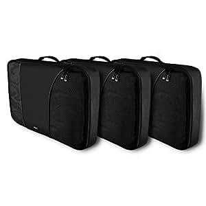 RYACO Organizador Maleta Viaje, 3 Piezas Organizador de Equipaje Bolsa para Ropa Sucia de Viaje, Material Nylon (Paquete de 3 Grande, Negro)