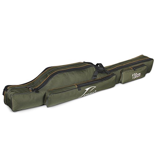 Waterfly Folding Fishing Rod Pole Case Portable Fishing Rod Carrier Fishing Tool Storage Bag