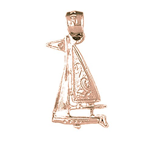 Sailboat Charm Gold Plated - Rose Gold-plated Silver 22mm Sailboat Pendant