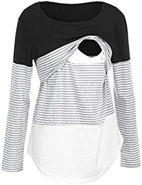Vanvler Nursing Breastfeeding Tops Maternity Long Sleeve Striped Blouse Mom Pregnant Layered Shirt