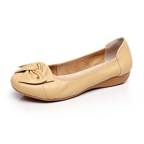 ballet Zapatos las Pisos Apricot la femeninos la Bowknot señoras Bridfa Work otoño del de manera Zapatos de Classi genuino de primavera la cuero del mujer de casuales de wwWqHpz4g