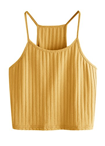 SheIn Women's Summer Basic Sexy Strappy Sleeveless Racerback Crop Top Small (Yellow Knit Top)