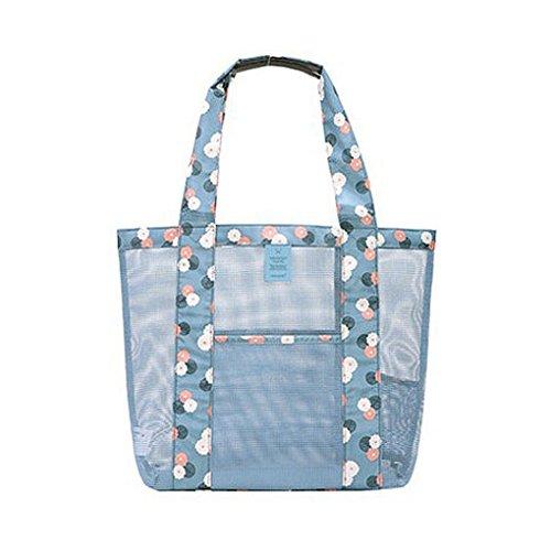 de Playa almacenamiento muchacha recorrido de floral de Mengonee hombro lavado de azul bolsas mano Bolsa mujeres bolso del Organizador decoración de del compras del las natación malla de de PwAqPX7