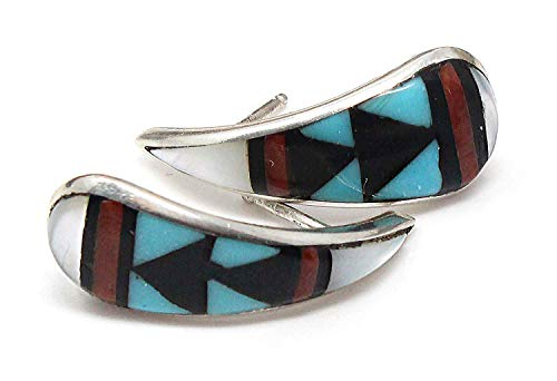 - Zuni Multi-Color Sterling Silver Hoop Earrings By Ukestine | 3/4 Dia